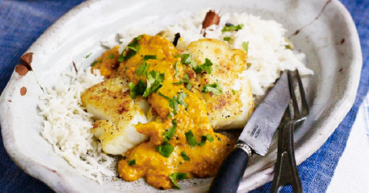 Roast cod with coconut curry sauce